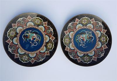 Beautiful Large Pair Of Antique Japanese Meiji Period Cloisonne Chargers/plates