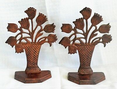 Vintage Pair Solid Brass Tulip Bouquet Bookends in Patterned Vase