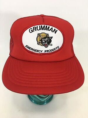 VTG Grumman Emergency Products Red Mesh Trucker Snapback Hat Cap Fire Trucks A15