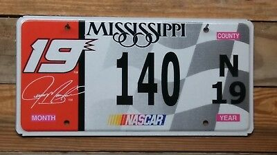 Mississippi Nascar #19 Jeremy Mayfield License Plate/Tag ~ 140 ~ Flat