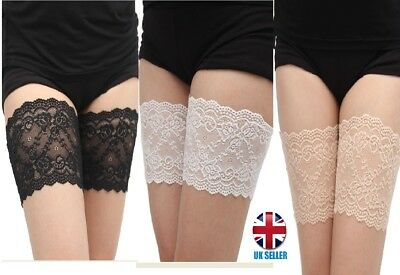 Pair Lace Anti Chafing Thigh Bands Non Slip Prevent Chafing - Black White Beige