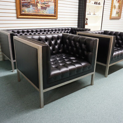 Fantastic Amsterdam Transitional sofa and 2 arm chairs antique silver and black