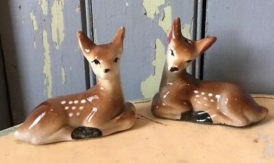 Vintage Ceramic Fawn Doe Deer Salt & Pepper Shakers