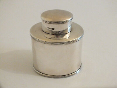 Antique Solid Silver Tea Caddy / Box - Oval - Atkin Brothers 1912