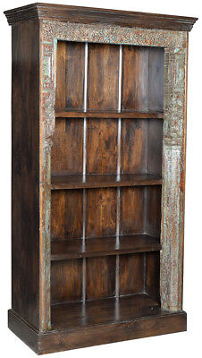 Antique Door Frame Carved Wood Ornate One of a Kind Bookcase/Cabinet,43'' x 77''