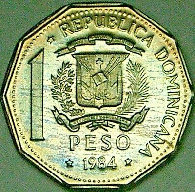 Dominican Republic 1984 1 Peso  IRIDESCENT TONED GEM PROOF---1600 PIECE MINTAGE