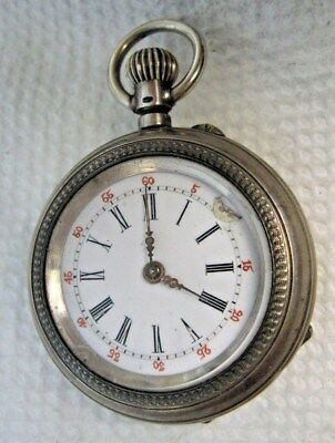 Antique C. Emile Locle Silver Ladies Pocket Watch Running