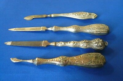 LOT of  4 VINTAGE VANITY ACCESSORIES - MANICURE - SILVER PLATED - FLORAL