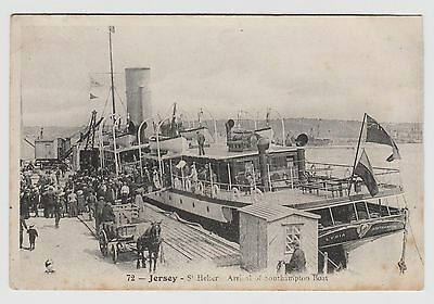 """POSTCARD - Jersey, St Helier, Arrival of Southampton Boat """"Lydia"""" animated scene"""