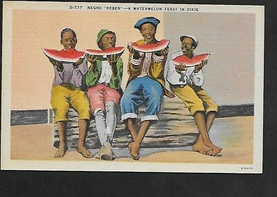 "Color Postcard Negro ""heben"" Watermelon Feast In Dixie"