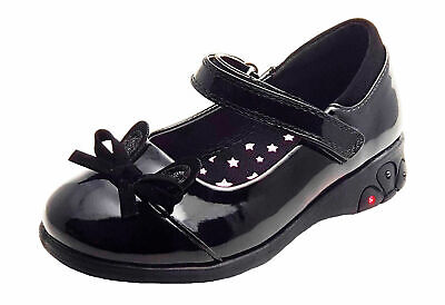 Girls Chatterbox Black Patent School Shoes with Light up Heels