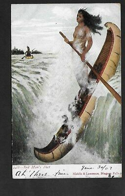 1907 Color Postcard Red Man's Fact, Niagra Falls