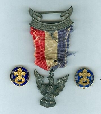 x3 Antique 1930s Boy Eagle Scout America Sterling Robbins Award Ribbon Pin Badge