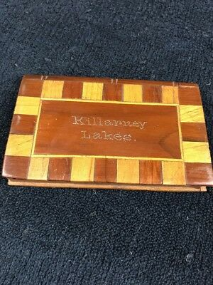 Antique Killarney Lakes Wood Inlaid Design Calling Card Case, with Card