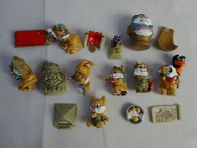 """Vintage 90s KINDER SURPRIZE Cairo Cats FERRERO Egyptian Lot CAKE TOPPERS 1 1/2"""""""