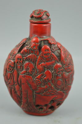 Collectible China Red Resin Carve Myth 18 Arhat Rare Decorate Snuff Bottle Gift