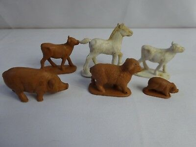 """Vintage 40s RUBBER Toy Farm Animals Lot of 6 Pigs Horse Cows Sheep 2 1/2"""""""