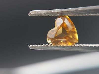 Natural heart faceted Citrine, 0.69ct, bright orange, lively