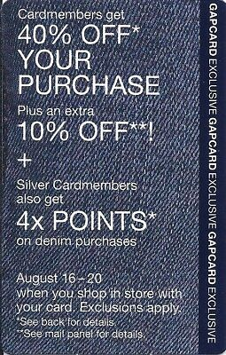 GAP 40% OFF + 10% OFF + 4x points with card coupon (8/16 - 20/2018)