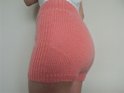 Hand Knitted Wool Shorts Handmade women panties knit lingerie underwear Medium
