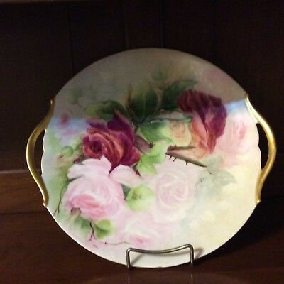 Antique (Tressemann & Vogt) T&V French Limoges Charger Plate Blush Roses
