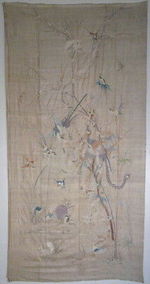 Large antique Chinese panel hand embroidered silk with birds 19thC textile Qing