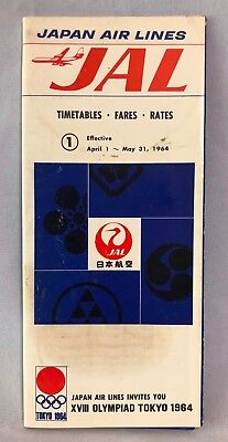 Vintage Japan JAL Brochure, Timetables, Fares, Rates, Toyko 1964 Olympics