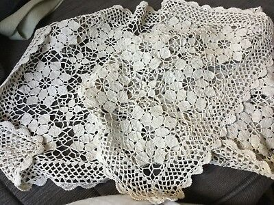 90x33cm crocheted table doily or runner made by Mum Undamaged