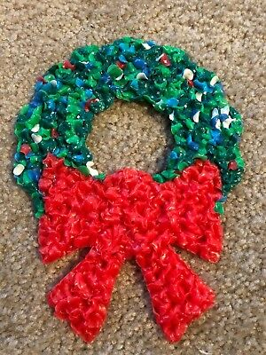 "Vintage Melted Plastic Popcorn Decorations 8"" Christmas Wreath"