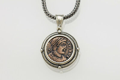 Sterling Silver Neckless with a Genuine Ancient Roman Bronze Coin. w/Cert -007