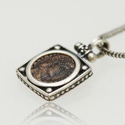 Sterling Silver neckless with Genuine Ancient Roman Bronze coin. W/Cert.-003