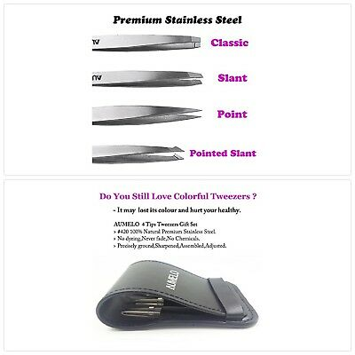 Tweezers 4 Piece Set Stainless Steel Professional Travel Eyebrow Hair Removal