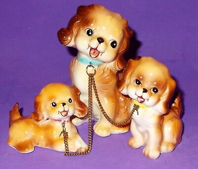 Vintage Cocker Spaniel Dog Chained to 2 Puppies Made in Japan Small 3.25""