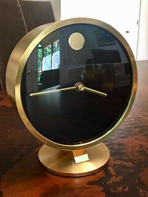 VINTAGE HOWARD MILLER BRASS DESK CLOCK MID CENTURY- Made in Germany