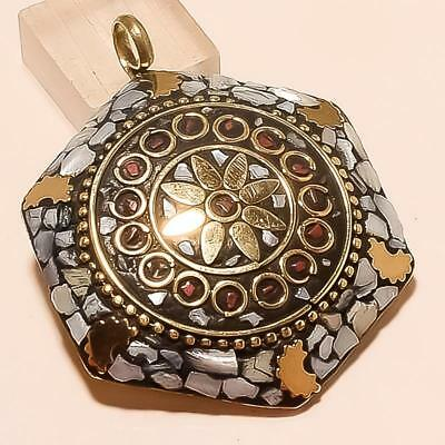 Mother Of Pearl With Red Coral Gold Plated Tibbetan Pendant 2.3""