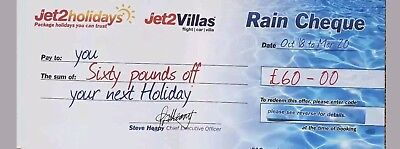 Jet2Holidays £60 Rain Cheque voucher BUY ONE GET FOUR FREE!!