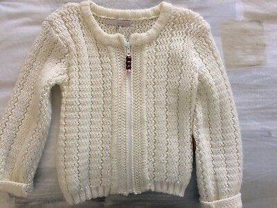 Bella And Lace Cream Zip Up Cardigan Size 4