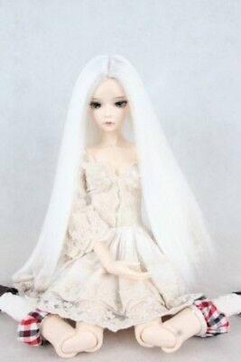 "White Long Straight Wig  For 1/3 24""/60CM BJD SD LUTS AOD DK DZ DOLL"