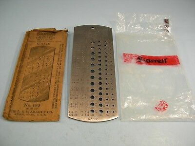 Starrett No.185 Drill Gage No.1 - 60 Time saver Tap Gage and Wire Gage