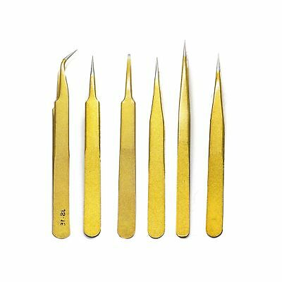 HUELE 6pcs Gold Color Coated Stainless Steel Straight and Curved Head Tweezers