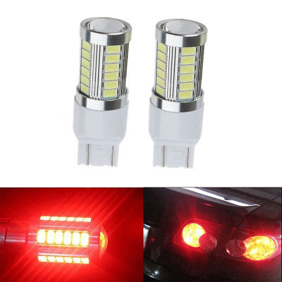 2pcs T20 Red Light 7443 5630 5730 33SMD LED Car Brake Tail DRL Stop Bulb Lamp