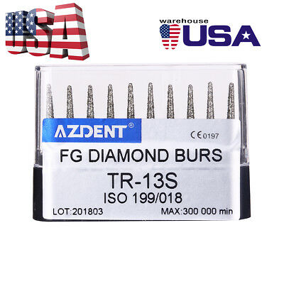 US 10PCs/Box Dental High Speed Diamond Burs TR-13S for Crown Cavity Preparation