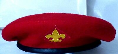 Ca. 1960s Official BSA, Boy Scout Red Beret, Large, Sz 7-1/8, 7-1/4, Wool, EXC
