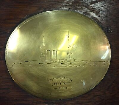 British Navy Formidable-class Battleship HMS IMPLACABLE Brass Plaque on Wood