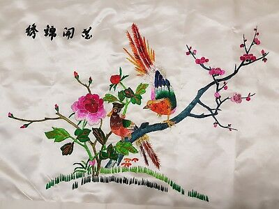 Chinese embroidery birds and blossom 30x46cm