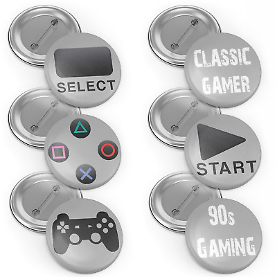 Retro Sony Playstation 32mm Button Pin Back Badge Set Metal Badge Collectables