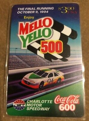 Mello Yello 500 - Final Running, Oct 9, 1994 Charlotte. Coca-Cola 600 Phone Card