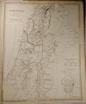1843 Map of Palestine in the Time of Our Savior HUGHES, W.