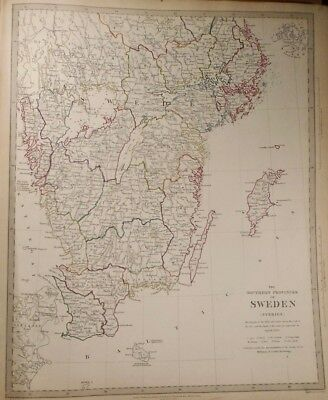 1833 Map of the Southern Proviences of Sweden Baldwin & Gradoc