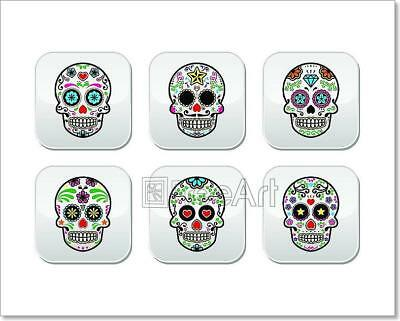 Mexican Sugar Skull, Dia De Los Mue Art Print Home Decor Wall Art Poster - F